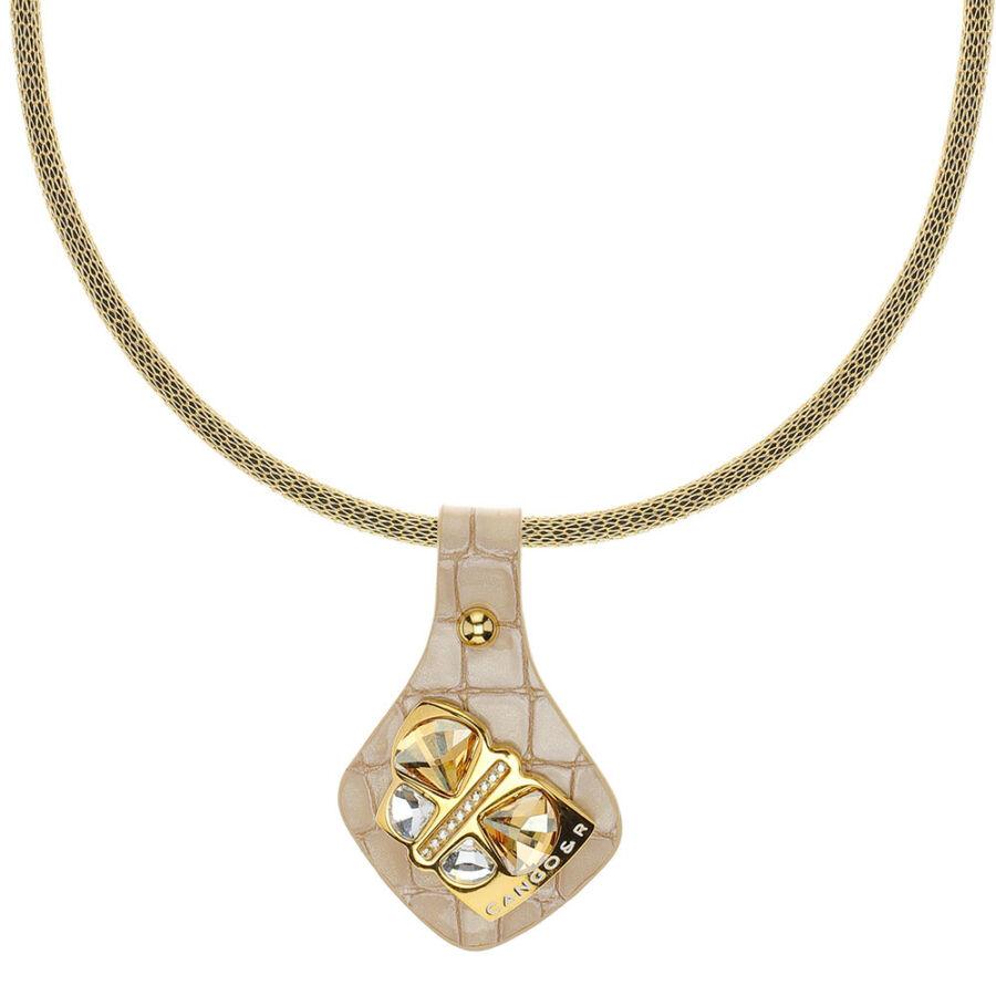 Cango & Rinaldi Secret Garden bézs piton bőr nyaklánc arany színű, pillangó alakú dísszel