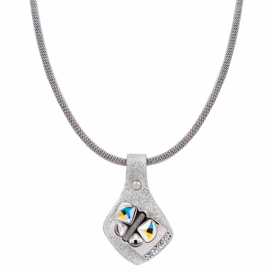 Cango & Rinaldi Secret Garden ezüst bőr nyaklánc nikkel színű, pillangó alakú dísszel, fehér kis kövekkel