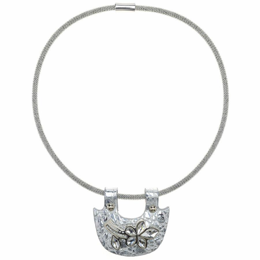 Cango & Rinaldi Secret Garden ezüst piton bőr nyaklánc ezüst színű pektorál medállal, virág alakú dísszel