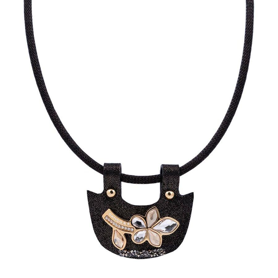 Cango & Rinaldi Secret Garden fekete nyaklánc fekete mintás bőr pektorál medállal, virág alakú dísszel, kis kövekkel