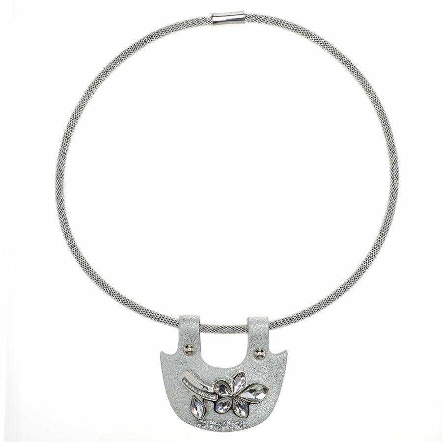 Cango & Rinaldi Secret Garden ezüst bőr nyaklánc nikkel színű pektorál medállal, virág alakú dísszel, kis kövekkel