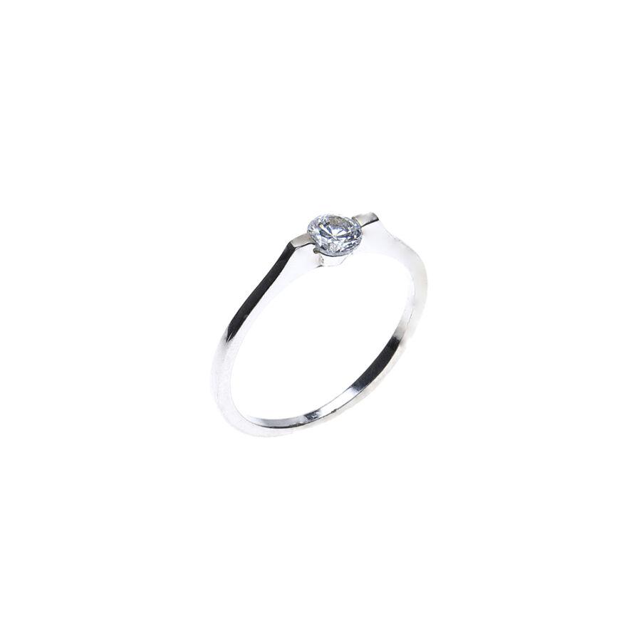 Fehér arany szoliter gyűrű modern süllyesztett foglalattal