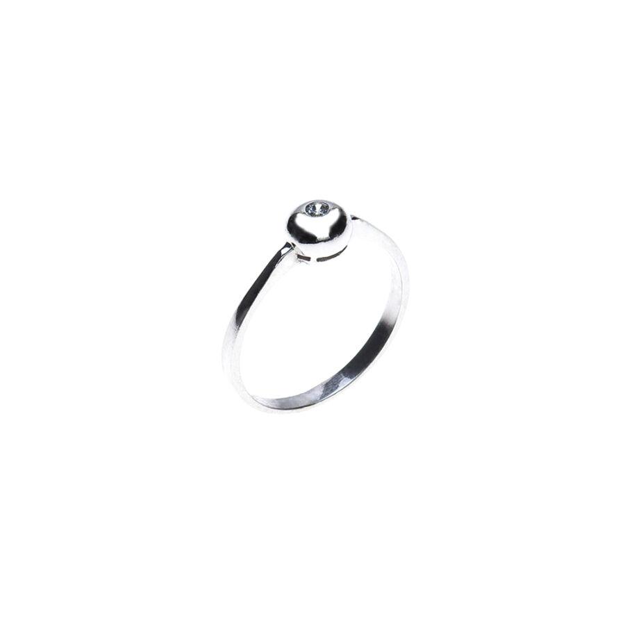 Fehér arany szoliter gyűrű gömbölyű button foglalattal