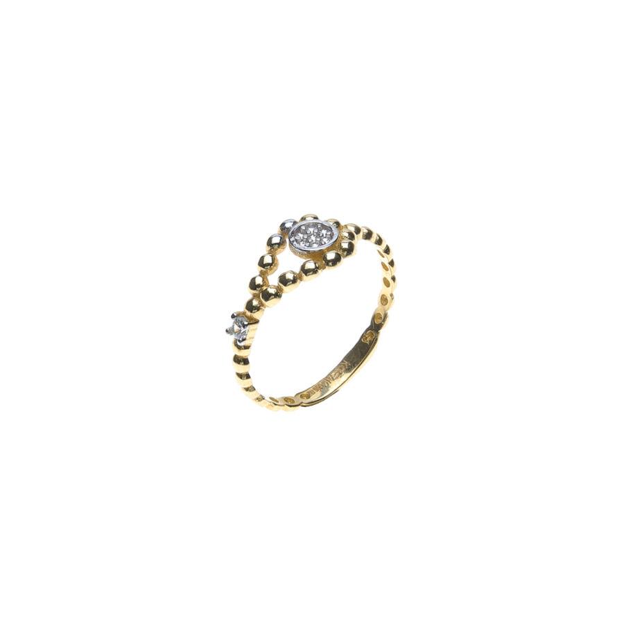 Sárga arany bogyós sínű szoliter gyűrű több kisebb kővel