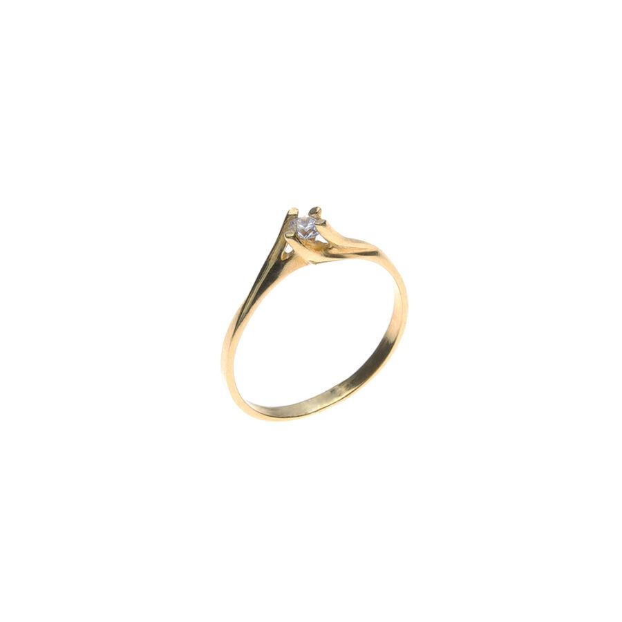 """""""Twist"""" sárga 14 karátos arany szoliter gyűrű csavart négykarmos foglalattal (53-as méret)"""