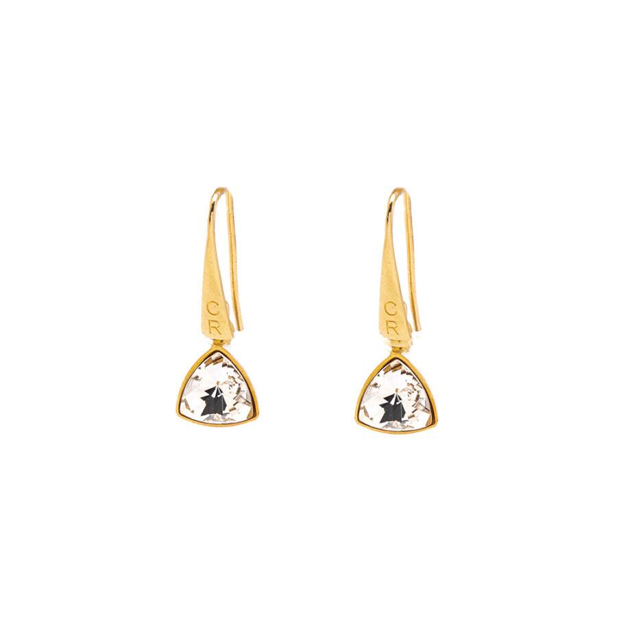 Cango & Rinaldi Triangle Crystal szín kis fülbevaló arany színű beakasztóval