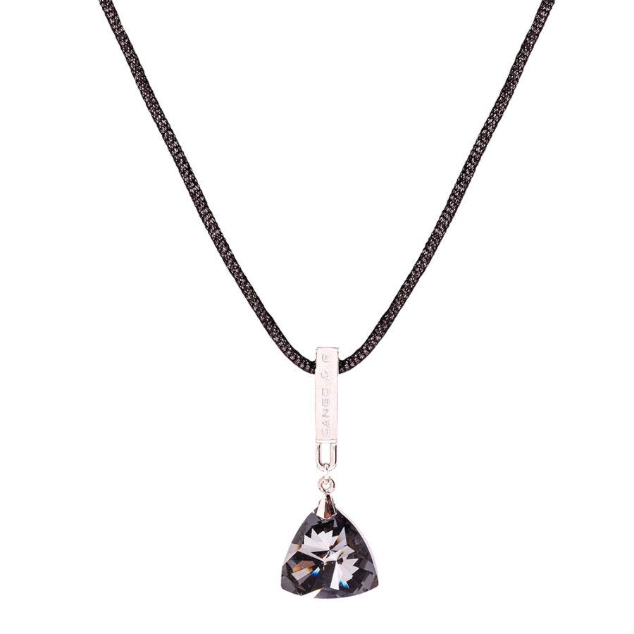 Cango & Rinaldi Triangle Mesh 1 fekete nyaklánc ezüstszín fém dísszel és fehér kristály kővel