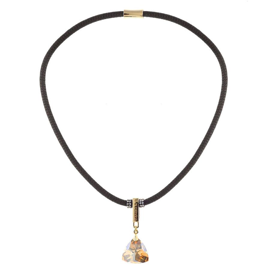 Cango & Rinaldi Triangle Mesh 3 aranyszín fémdíszes, arany kristály színű köves fekete színű nyaklánc