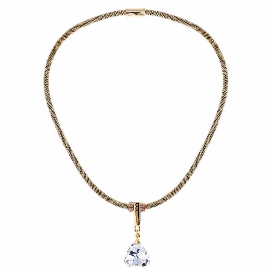 Cango & Rinaldi Triangle Mesh 3 aranyszín fémdíszes, arany kristály színű köves arany színű nyaklánc