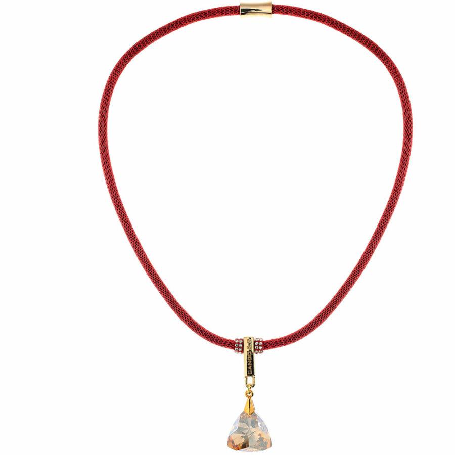 Cango & Rinaldi Triangle Mesh 3 aranyszín fémdíszes, arany kristály színű köves piros színű nyaklánc
