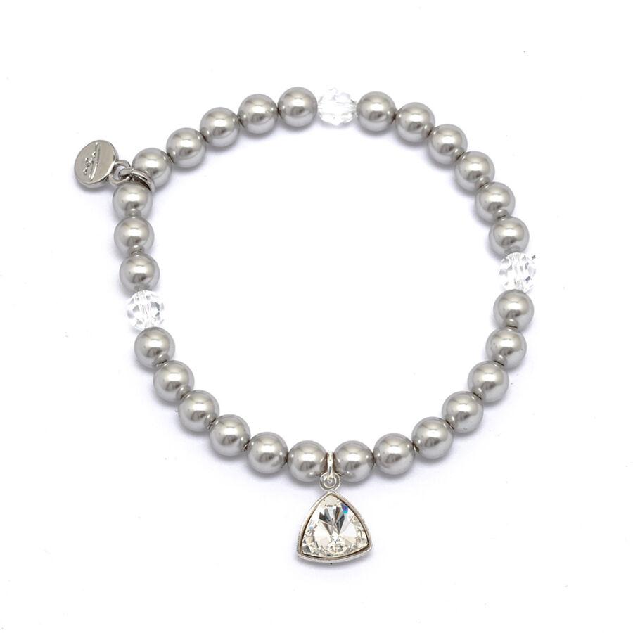 Cango & Rinadli Triangle Light Grey gyöngyös karkötő fehér kövekkel és ezüstszín fémdísszel