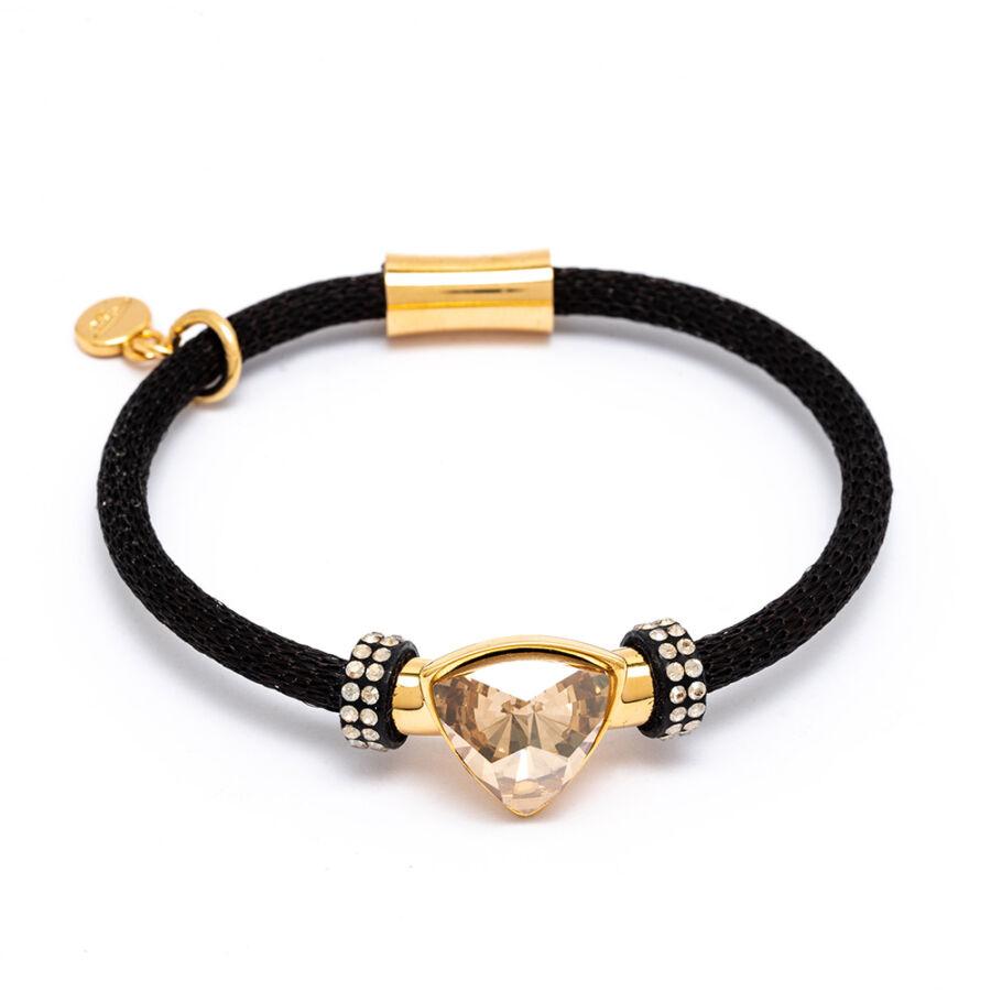 Cango & Rinaldi Triangle Mesh 3 fekete színű karkötő aranyszín fém dísszel és arany-fehér kristály kővel
