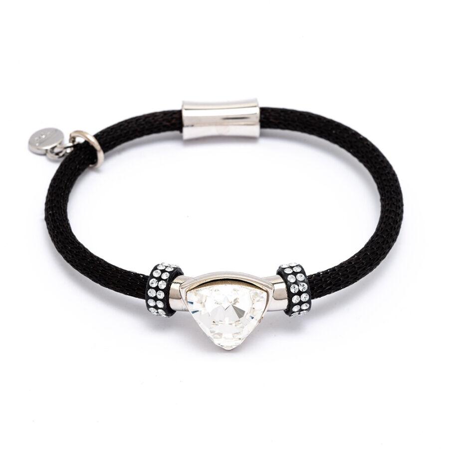 Cango & Rinaldi Triangle Mesh 3 fekete színű karkötő ezüstszín fém dísszel és ezüst kristály kővel
