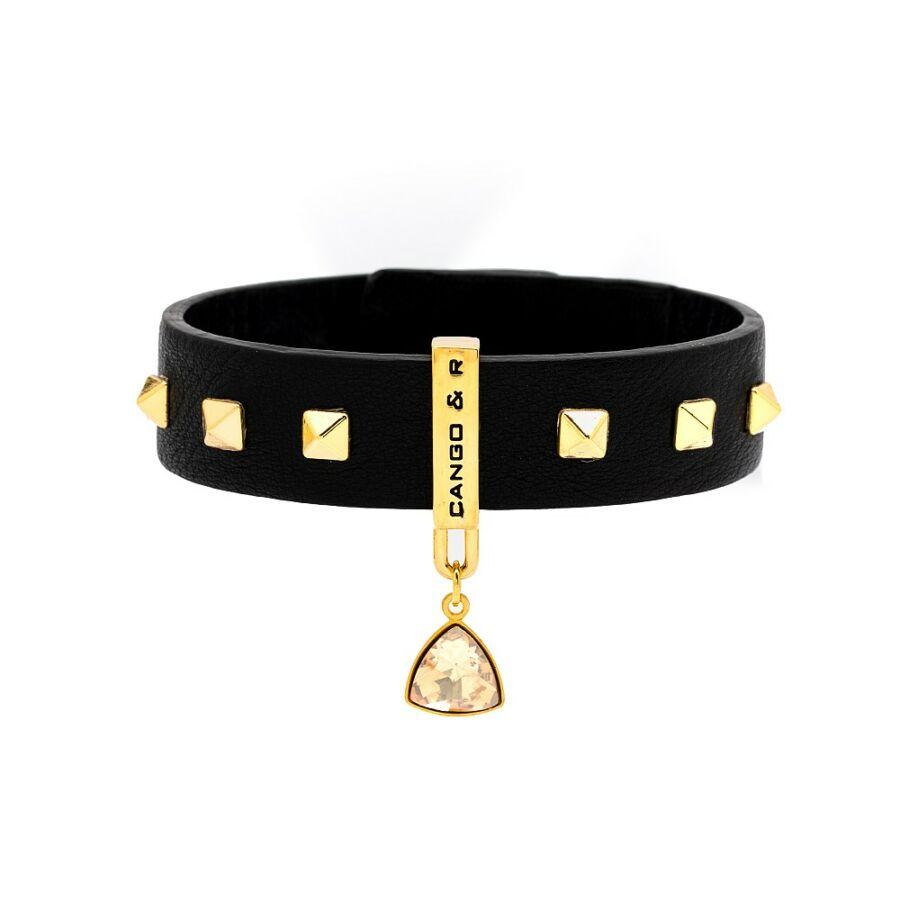 Triangle szegecses fekete arany karkötő