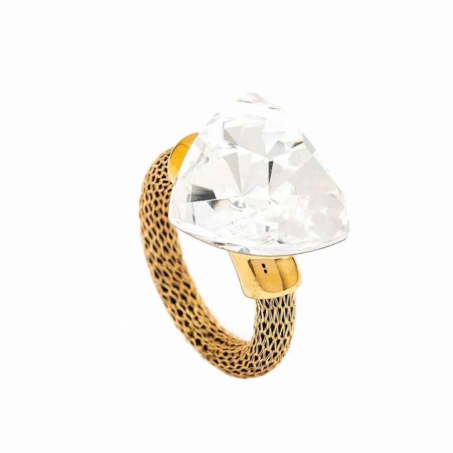 Cango & Rinaldi Triangle Mesh arany színű gyűrű nagy fehér kővel