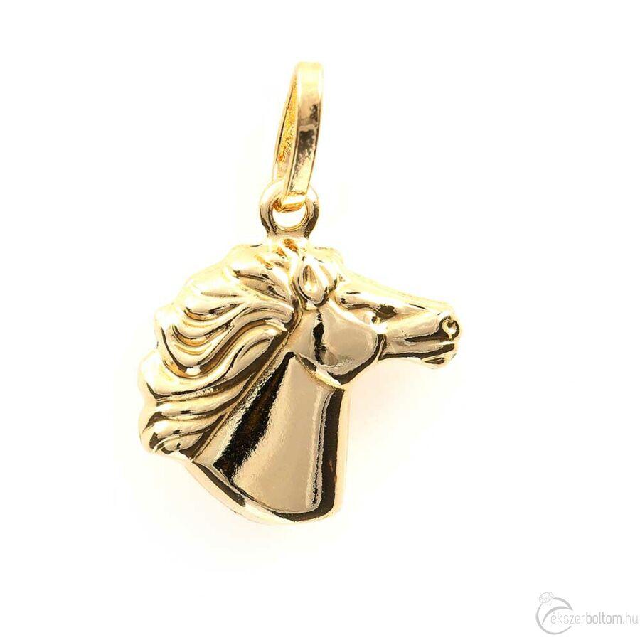 Arany lófő medál, 14 kt