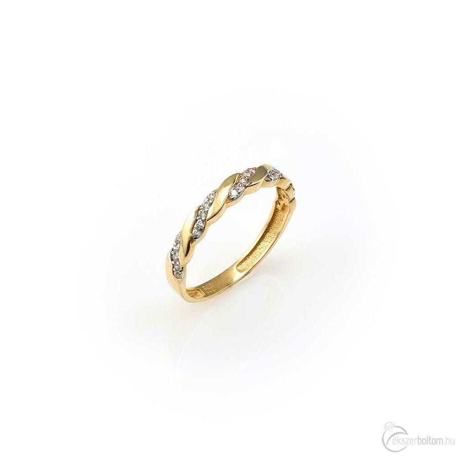 Sárga arany sokköves gyűrű fonatszerű mintázattal