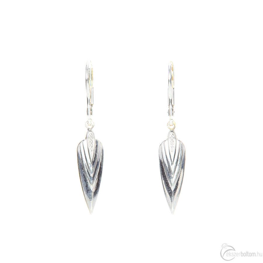 Ezüst színű beakasztós ezüst lógós, mintás fülbevaló