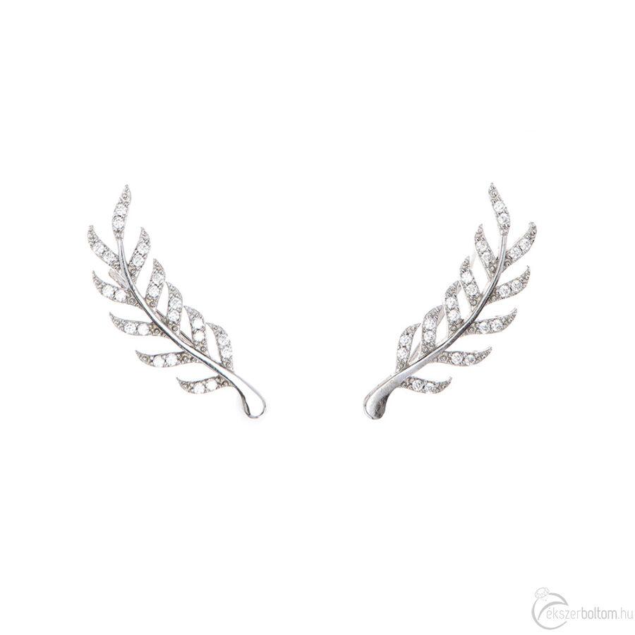 Laurea ródiumozott, sokköves, fülre simuló ezüst fülbevaló