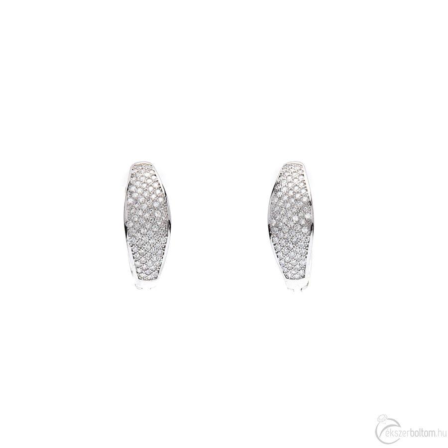Sokköves, kiszélesedő, ródiumozott ezüst fülbevaló