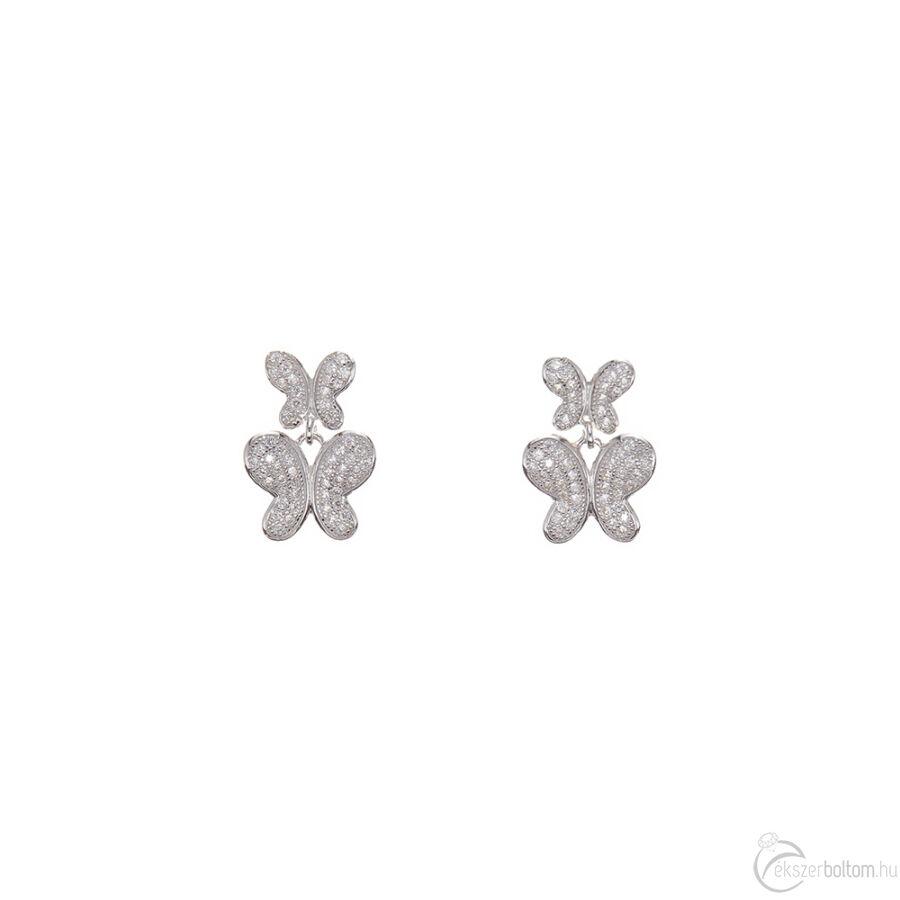 Két Pillangó sokköves ezüst bedugós fülbevaló