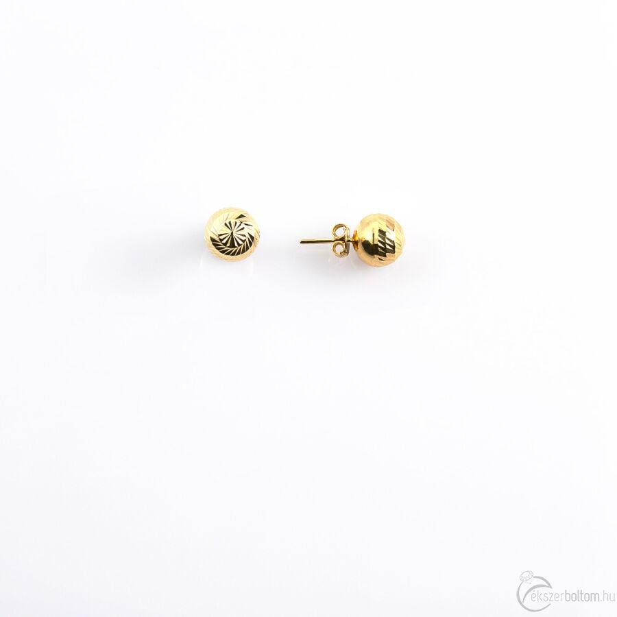 Vésett bogyós sárga arany fülbevaló (közepes)
