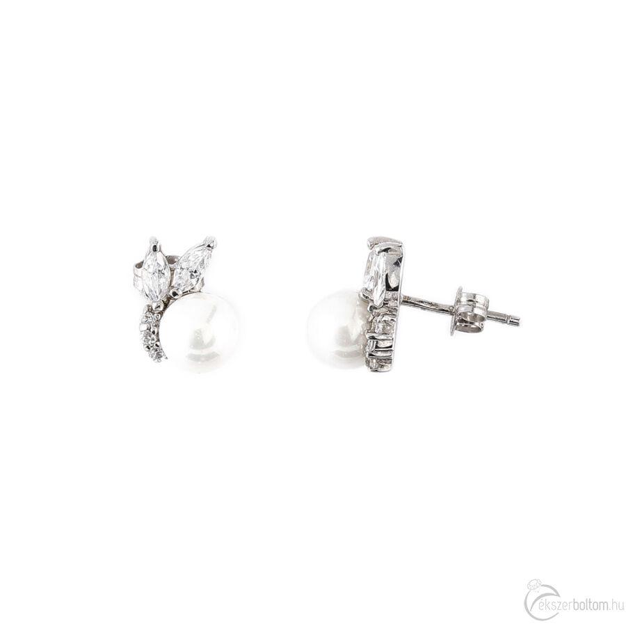 Gyöngyös-cirkóniás ezüst fülbevaló