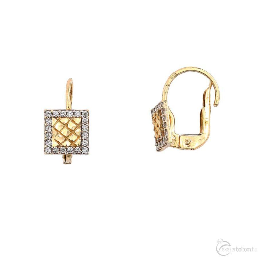 Patentzáras négyzetes sárga arany fülbevaló