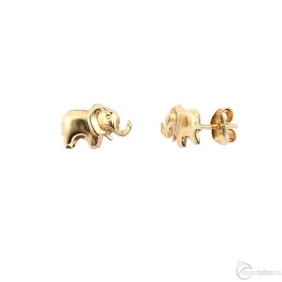Szerencse-elefánt sárga arany pontfülbevaló