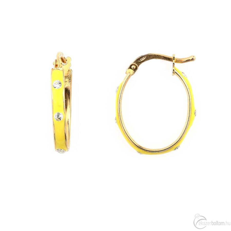 Sárga zománcos sárga arany ovális karika fülbevaló