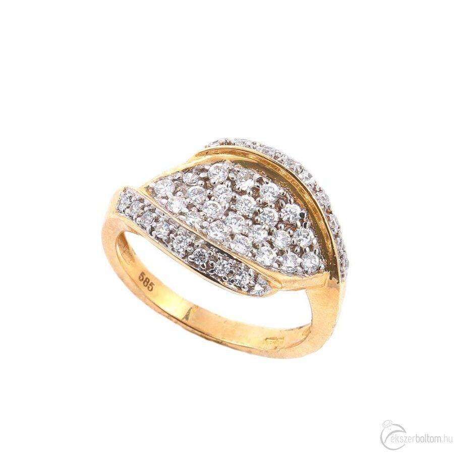 Sárga arany női gyűrű kiszélesedő, kövekkel borított fejjel