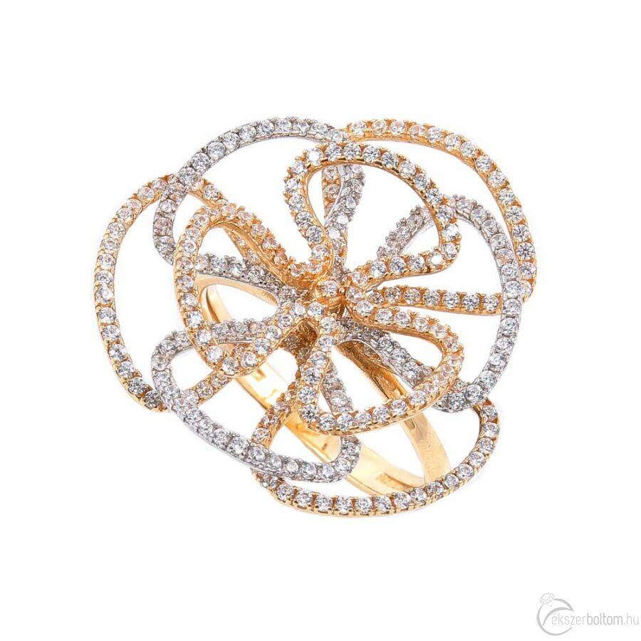 Poppy sárga-fehér arany sokköves női gyűrű