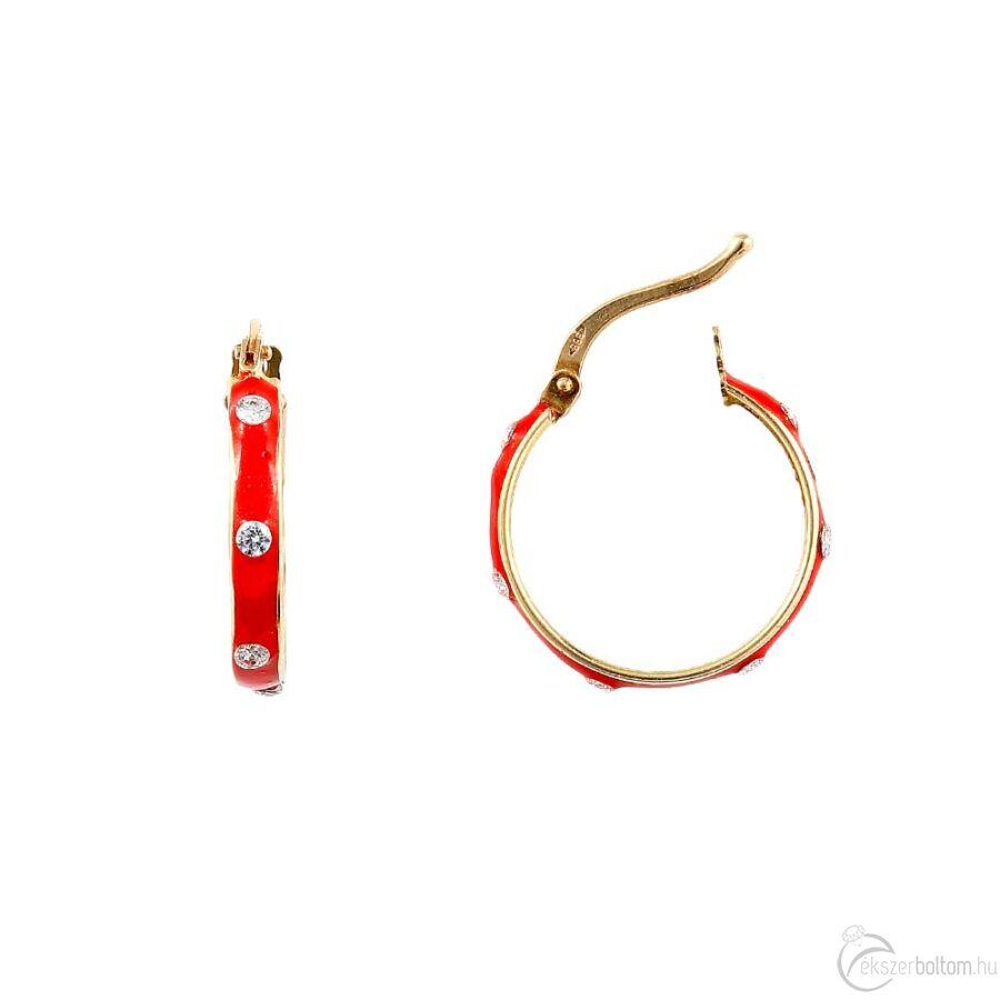 Piros zománcos sárga arany karika fülbevaló