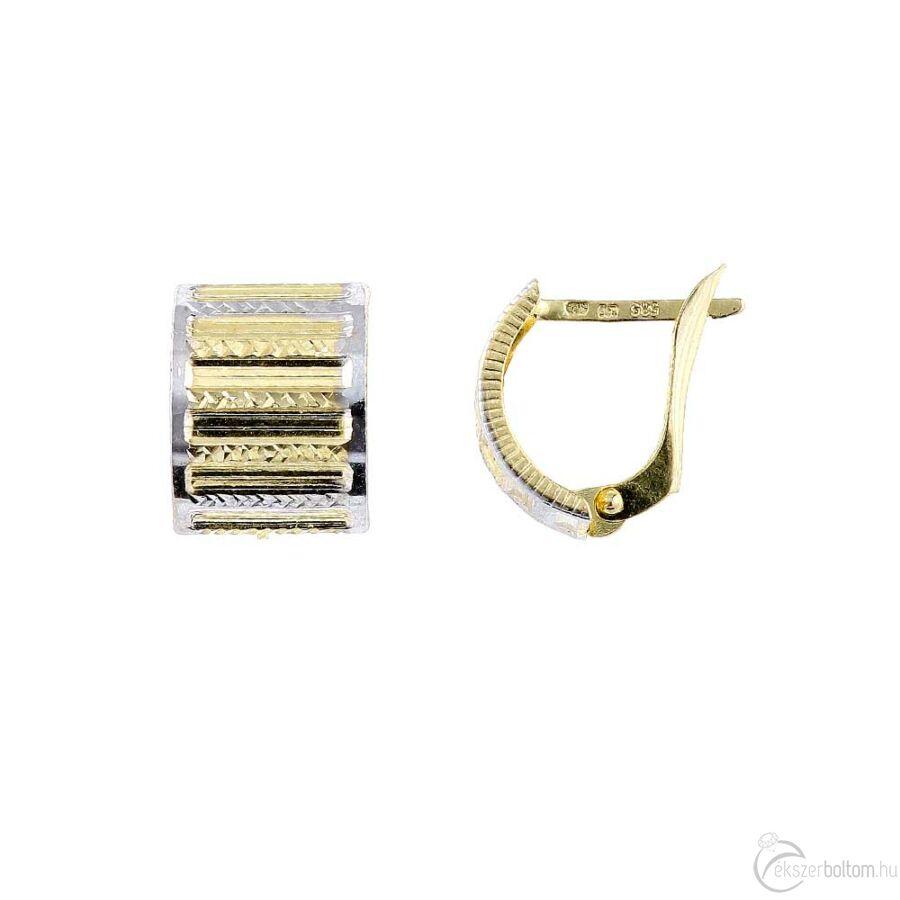 Széles, ívelt sárga arany fülbevaló ródium díszítéssel