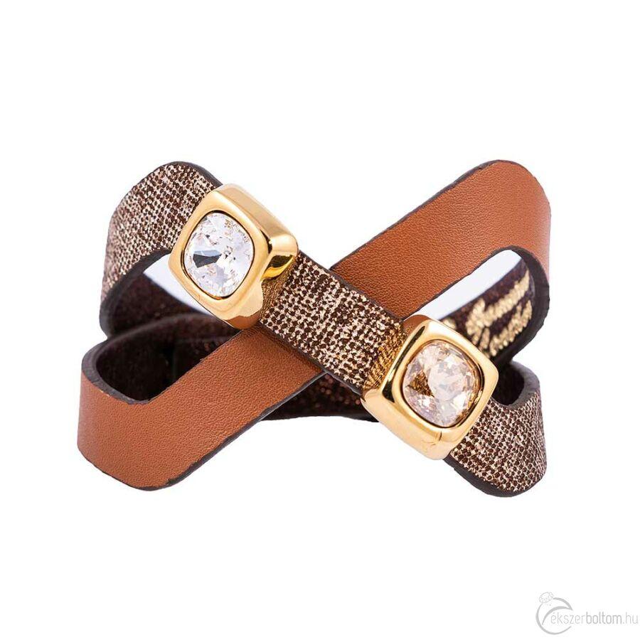 Cango & Rinaldi Magic aranyos barna karkötő arany színű és fehér kristály díszítéssel
