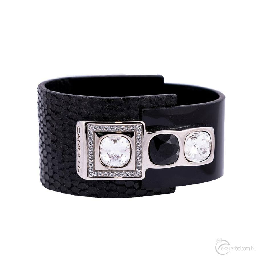 Cango & Rinaldi Magic fekete karkötő nikkel fém, Black Diamond  és fehér kristály díszítéssel