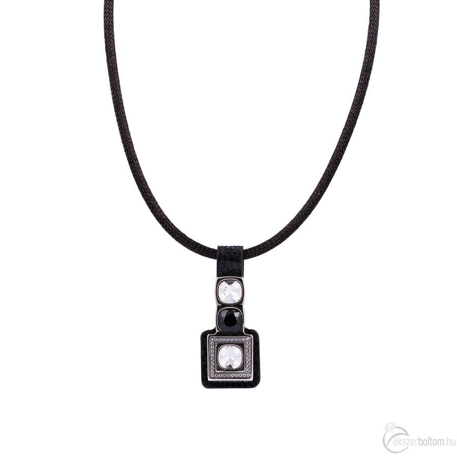 Cango & Rinaldi Magic fekete nyaklánc fekete bőr medállal, Black Diamond és fehér kristály díszítéssel