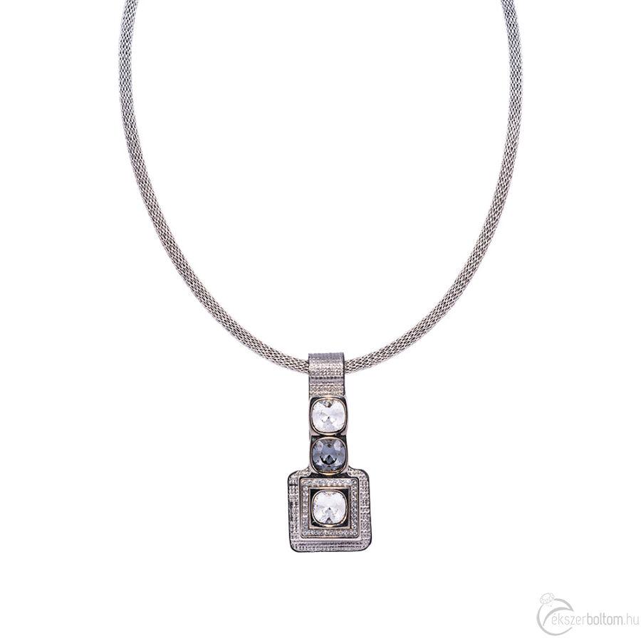 Cango & Rinaldi Magic ezüst színű nyaklánc óezüst bőr medállal, Black Diamond és fehér kristály díszítéssel