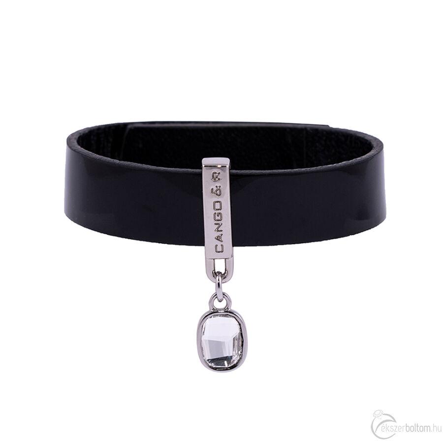 Cango & Rinaldi Magic fekete karkötő nikkel színű díszítéssel, fehér kristállyal