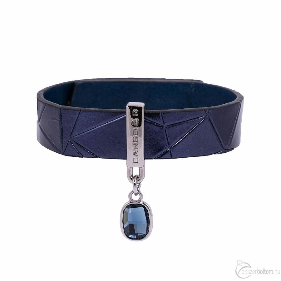 Cango & Rinaldi Magic sötétkék karkötő nikkel színű díszítéssel, Bermuda-kék kristállyal