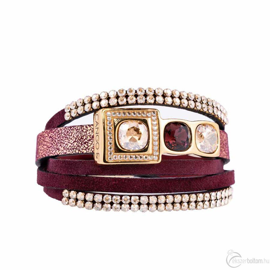Cango & Rinaldi Magic többszálas arany bőr karkötő arany színű fém, arany és fehér kristály díszítéssel