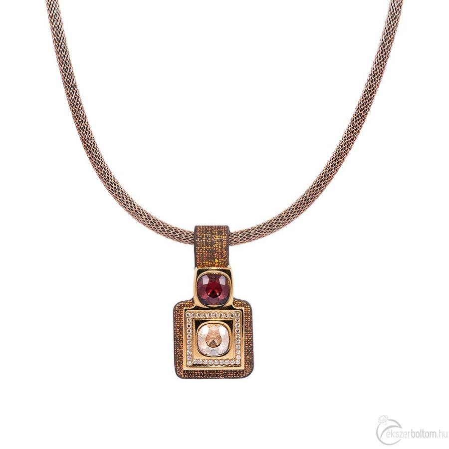 Cango & Rinaldi Magic arany színű nyaklánc színjátszó, aranyos barna medállal, arany színű fém díszítéssel, Burgundy és arany kristályokkal
