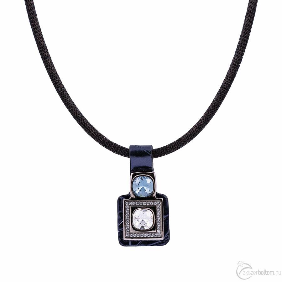 Cango & Rinaldi Magic fekete nyaklánc sötétkék medállal, rajta nikkel színű fém díszítéssel, Bermuda-kék és fehér kristályokkal