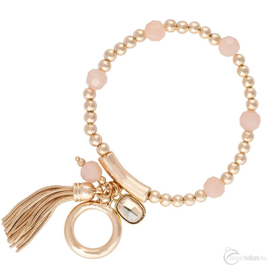 Cango & Rinaldi Peace & Love arany színű, kristály köves, karikás karkötő