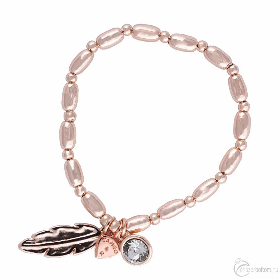 Cango & Rinaldi Peace & Love rozéarany színű, kristály köves toll medálos karkötő