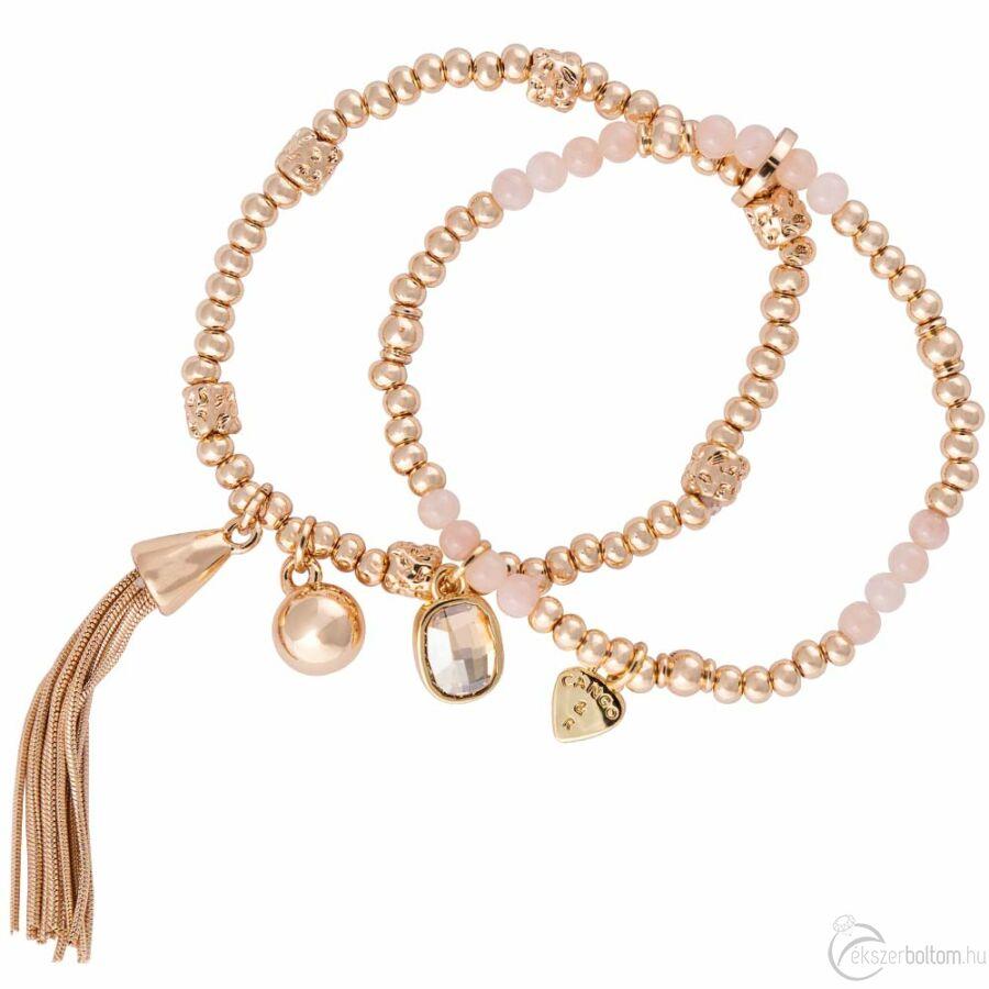 Cango & Rinaldi Peace & Love arany színű, kristály köves dupla, bojtos karkötő