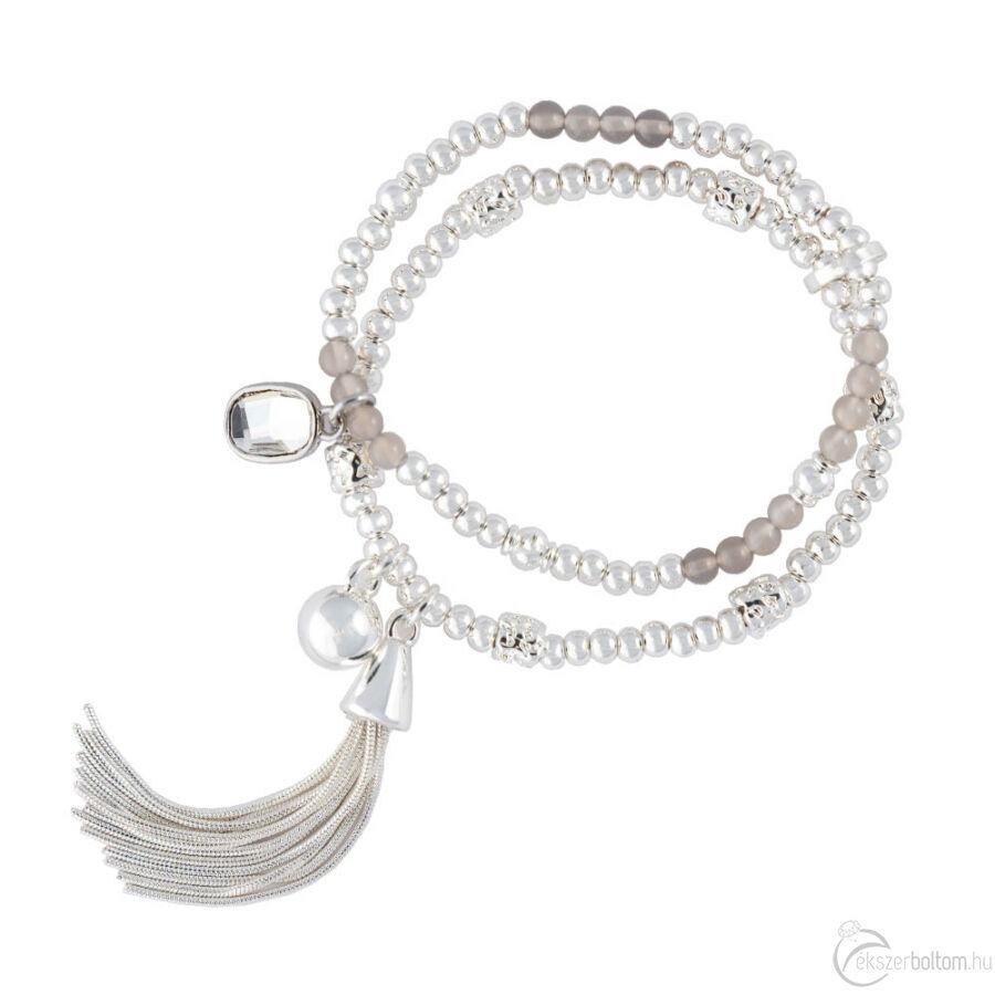 Cango & Rinaldi Peace & Love ezüst színű, kristály köves dupla, bojtos karkötő