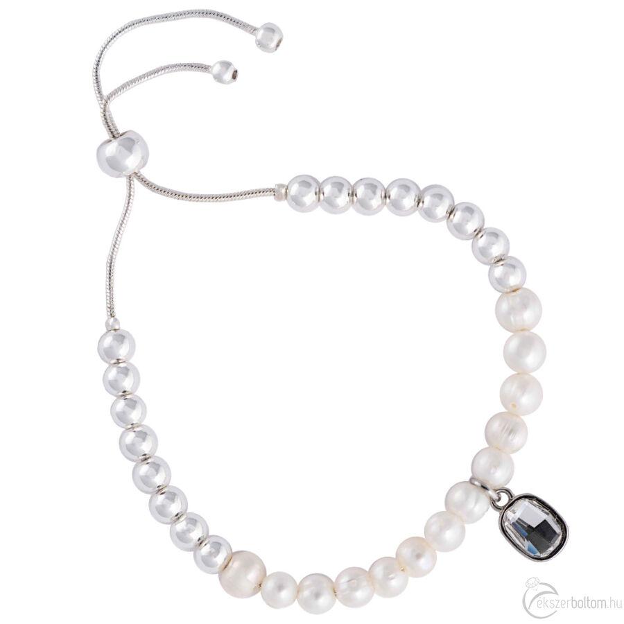 Cango & Rinaldi Peace & Love ezüst színű, kristály köves gyöngyös, csúszkás karkötő