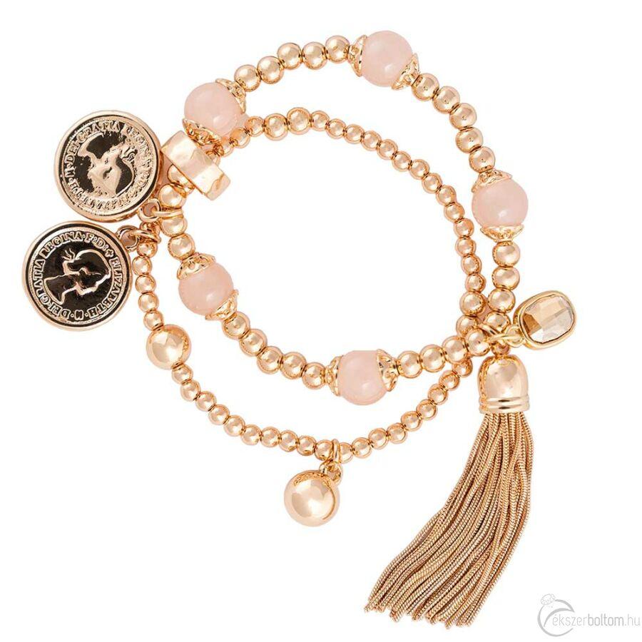 Cango & Rinaldi Peace & Love arany színű, kristály köves bojtos, érmés karkötő