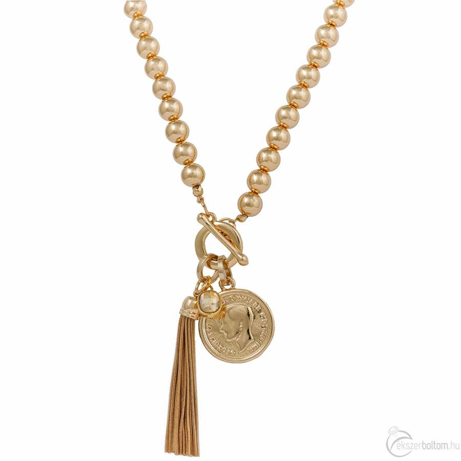 Cango & Rinaldi Peace & Love arany színű, kristály köves nyaklánc